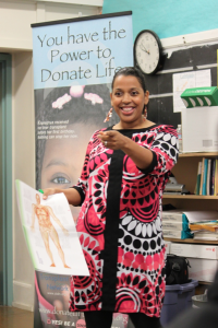 Ayanna Anderson, Donate Life Ambassador, speaks to students at Balboa High School about organ, eye and tissue donation as part of a Donate Life California classroom presentation offered free to high schools and middle schools.
