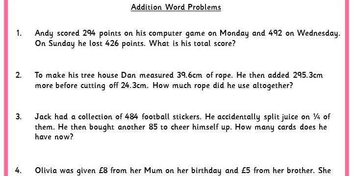Addition Word Problems Classroom Secrets - sample word problem worksheets