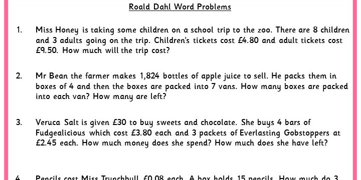 Roald Dahl Word Problems Classroom Secrets - multiplication and division worksheet
