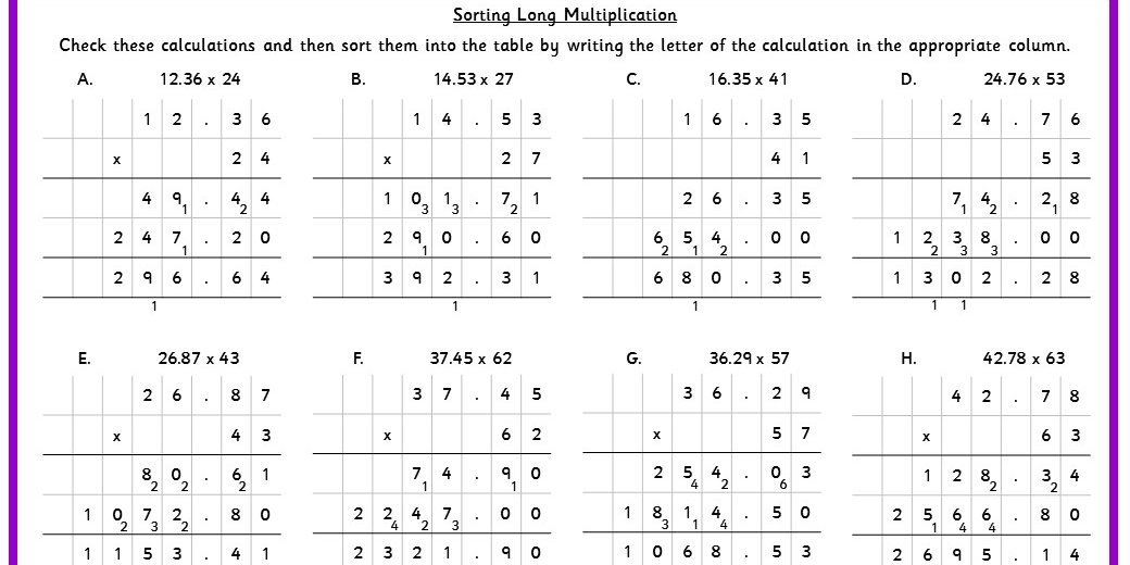 Sorting Long Multiplication Classroom Secrets