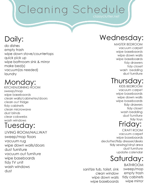blank weekly cleaning schedule