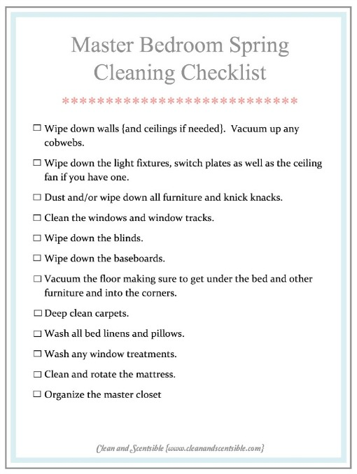 How to Clean the Master Bedroom - Clean and Scentsible - spring cleaning checklist