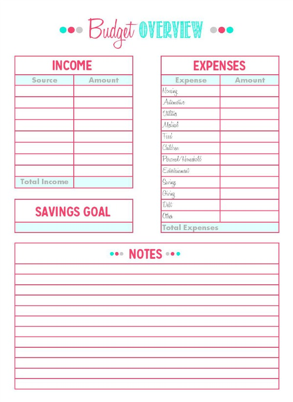 Family Binder Budgeting Printables - Clean and Scentsible