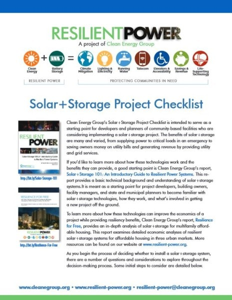 Solar+Storage Project Checklist - Clean Energy Group