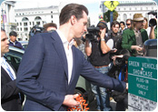 Mayor Newsom Charges Plug-in Hybrid Prius