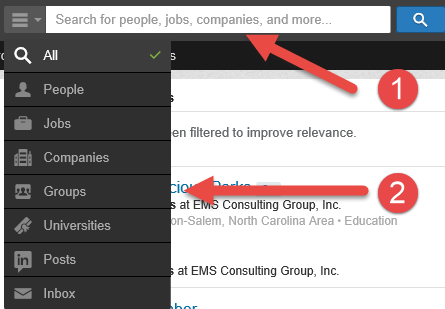 LinkedIn tip for searching groups