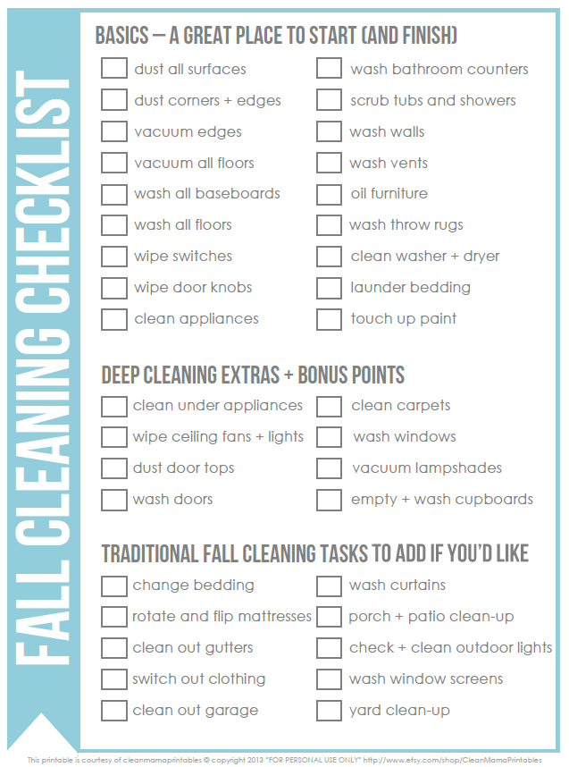 Free Fall Cleaning Checklist - Clean Mama