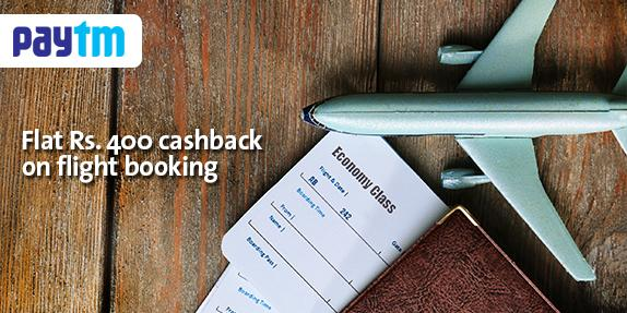 Domestic Flights Rs.400 Cashback on Rs.3500 with PayTm Wallet