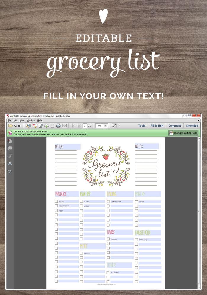 Free Editable Grocery List {Printable PDF} - free printable shopping list template
