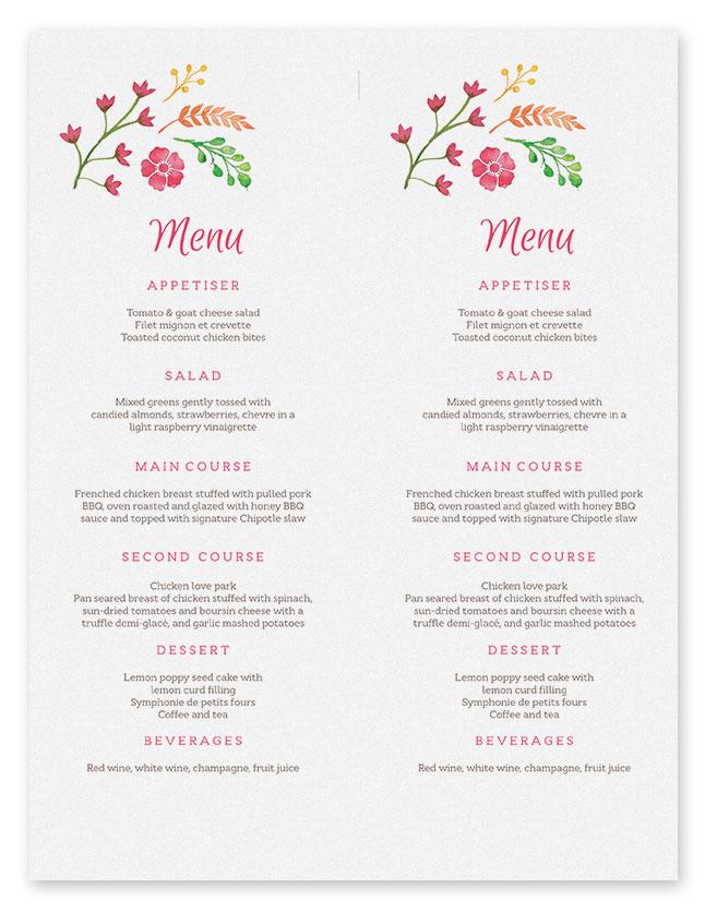 wedding menu templates free - wedding menu template