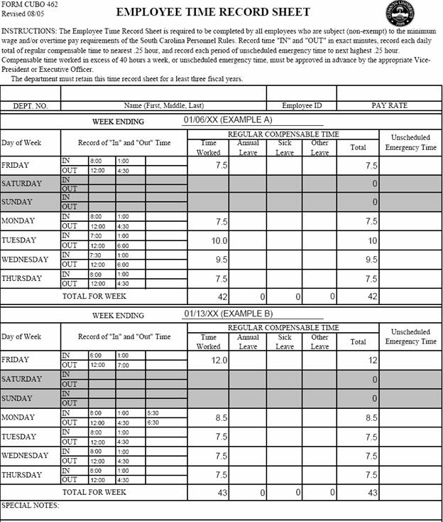 Timesheet Examples Clemson University, South Carolina - work hour sheet