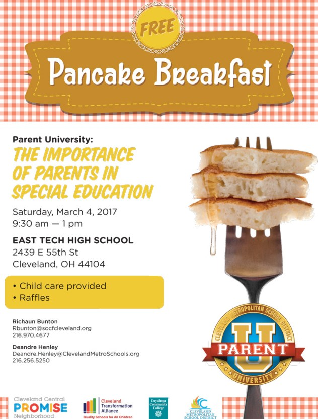 Pancake Breakfast - The Importance of Parents in Special Education @ East Tech High School | Cleveland | Ohio | United States