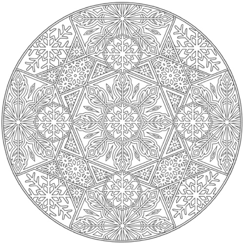 22 christmas coloring books to - Mandala Snowflakes Coloring Pages
