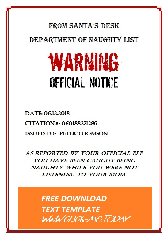 NAUGHTY LIST WARNING NOTICE FROM SANTA CLAUS - DOCX
