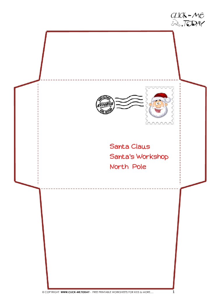 Printable Letter to Santa Claus envelope template -Simple Santa stamp-1 - Santa Envelopes