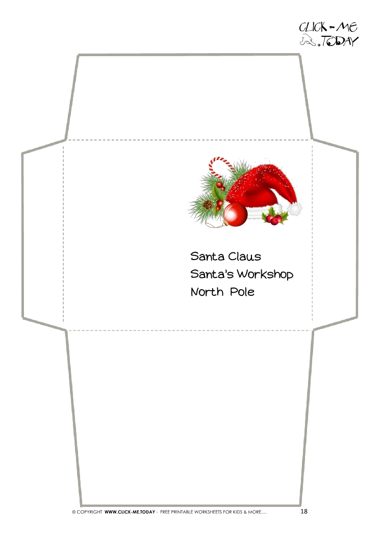 Envelope for Letter to Santa Claus craft -Black  White Santa Hat-18
