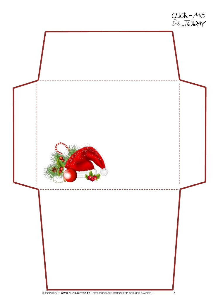 Printable Letter to Santa Claus envelope template -Simple Santa hat-3 - Santa Envelopes
