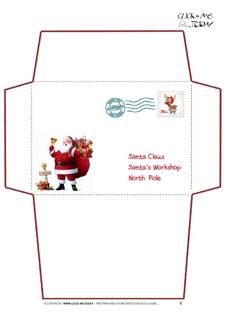 Printable Letter to Santa Claus envelope template -Santa Stamp-8
