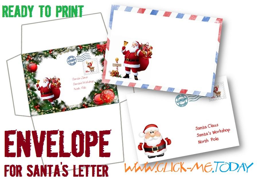 Free printable Letter to Santa Claus envelope template - Craft