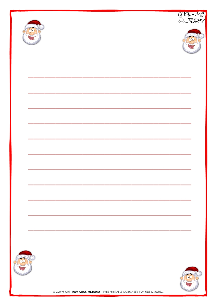 Printable Letter to Santa Claus paper - template with lines Santa