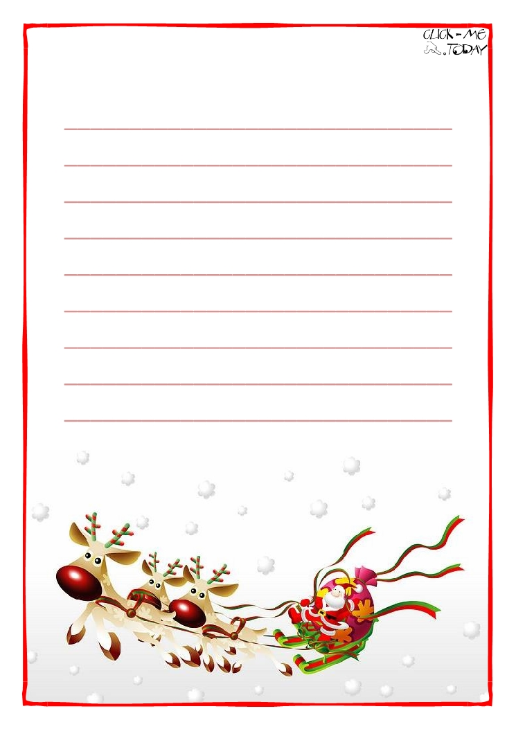 Printable Letter to Santa Claus paper with lines Sleigh Background-14 - printable letter paper with lines