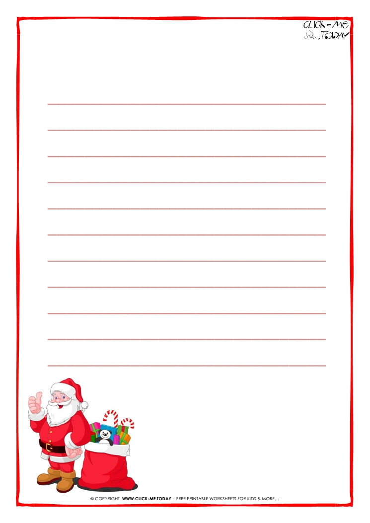 Letter to Santa Claus paper template with lines Santa presents-17