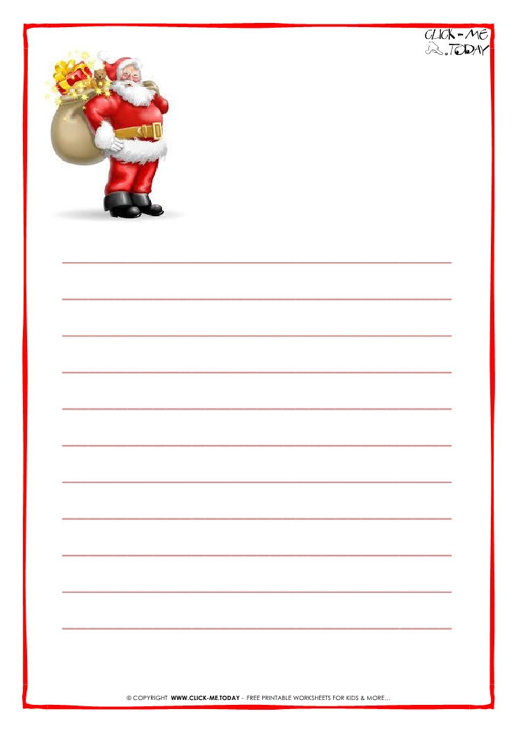 Printable Letter to Santa Claus paper with lines Santa presents-18
