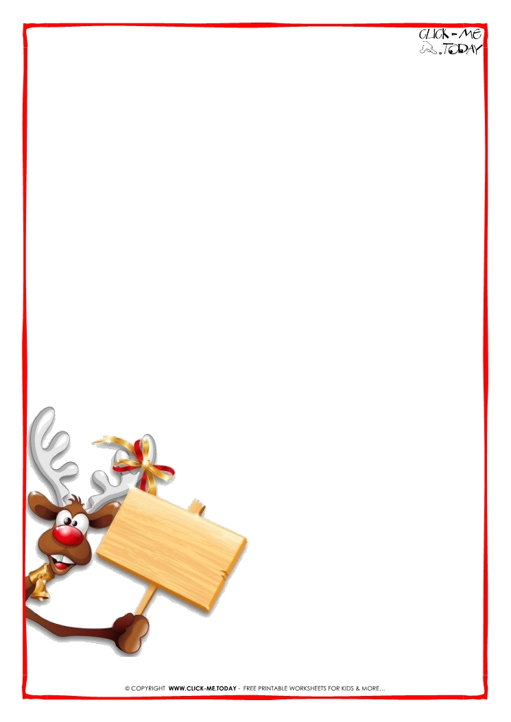 Printable Letter to Santa Claus blank paper template Reindeer-2 - printable letter paper with lines