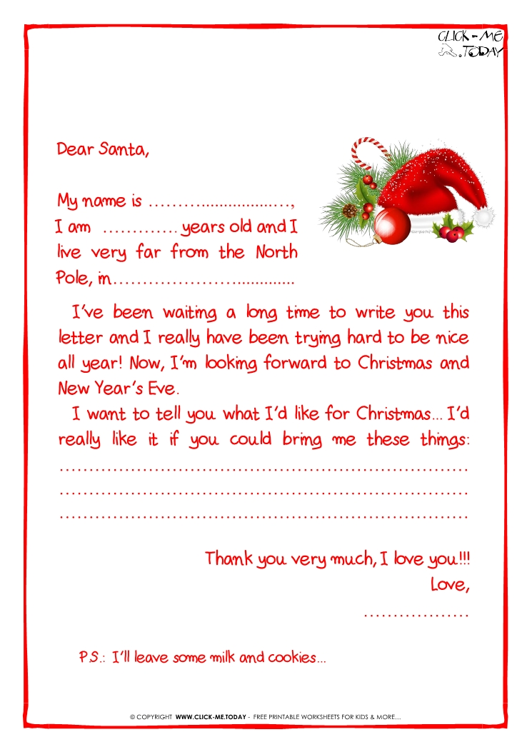 Printable sample letter to Santa Claus - with PS -Santa Hat-21
