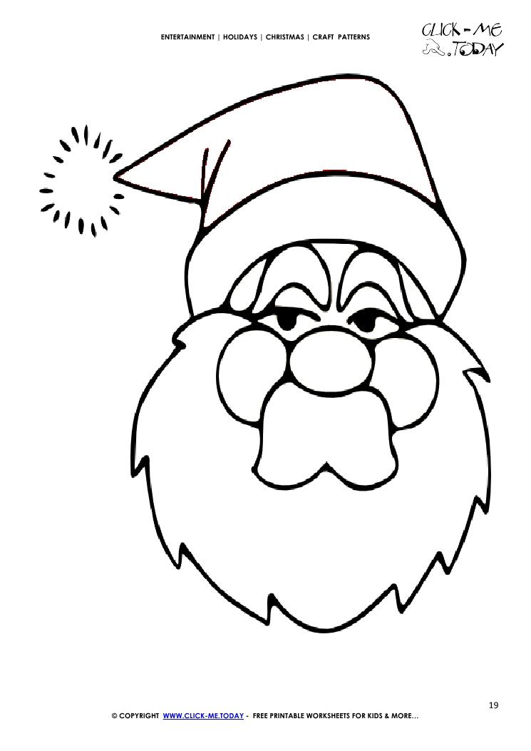 Free printable Santa Claus face Craft Pattern - Christmas Craft