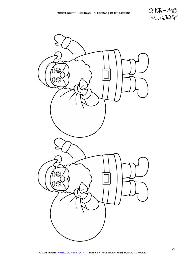 Free printable Santa Claus with Sacks Craft Pattern - Christmas