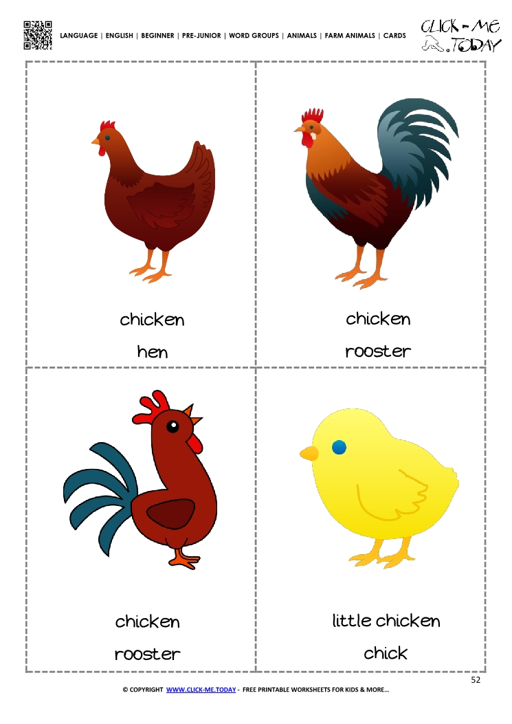 Farm animals flashcards 1 - Rooster, Hen  Chick