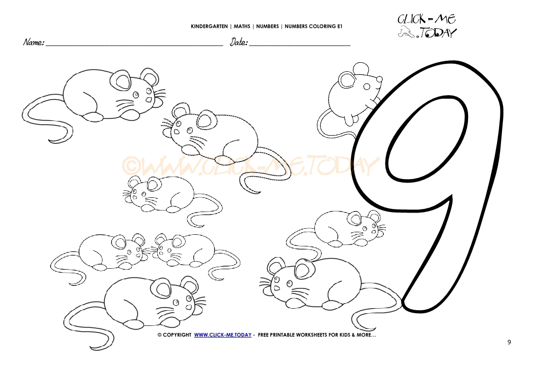 Number coloring pages - Number 9 - new coloring pages of number 9