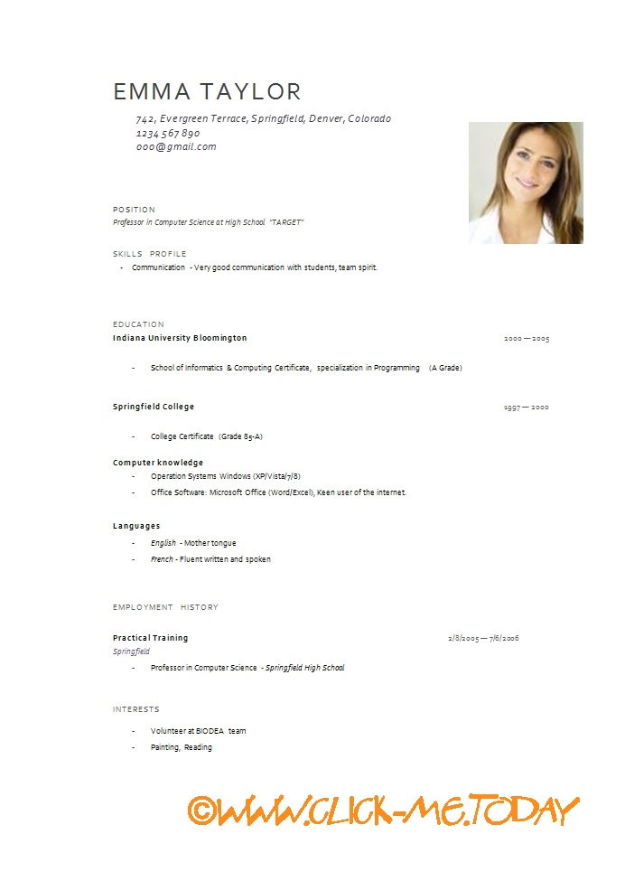 Samples Of Curriculum Vitae For Graduates Curriculum Vitae Wikipedia Format Of Cv With Photograph Online Writing Lab – Www