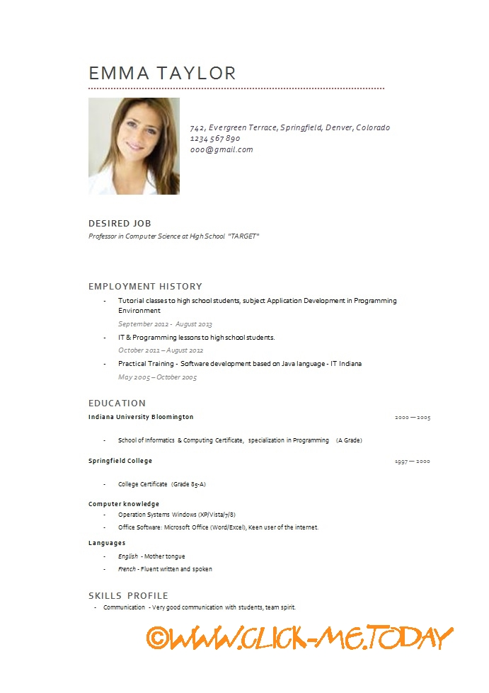 Cv English Example Teacher