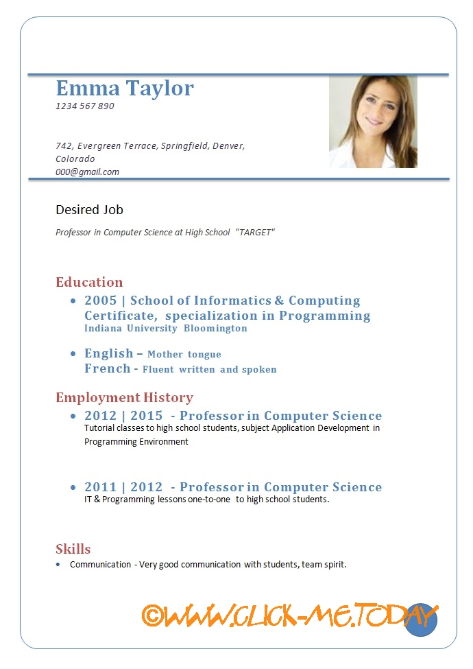 how to make a simple cv for job