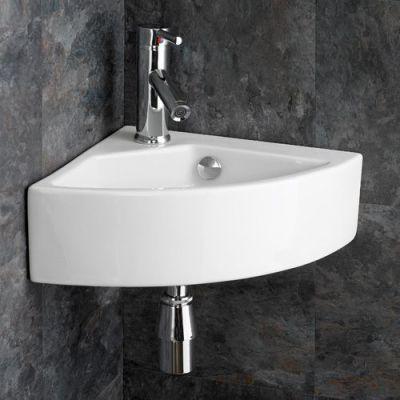 Florence Medium Sized Ceramic Wall Hung Corner Hand Bathroom Basin