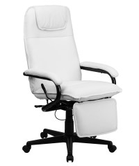 Offex High Back White Leather Executive Reclining Office ...