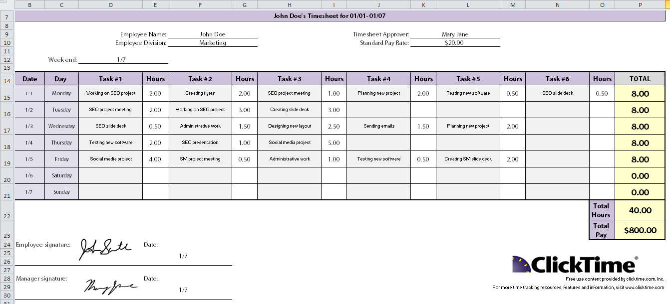 weekly project timesheet