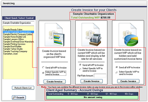 Client Track Practice Management Software - how to invoice a client