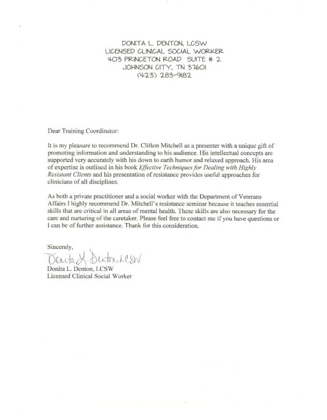 Clifton Mitchell Endorsement Letters and Statements
