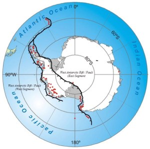 Figure 1: Antarctic Continent with active: land volcanoes (red dots), ocean floor active volcanoes (red dots) and two segments of the 5,000-mile long West Antarctic Rift / Fault System (hatched black lines).