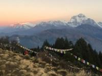 Sunrise over Dhaulagiri, an 8000m peak you won't see again on the Annapurna basecamp trek