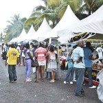 Patrons at a food festival in Ocho Rios