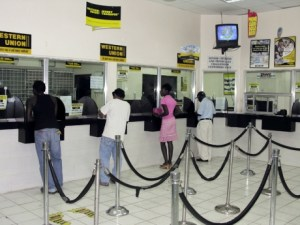 Customers in an Western Union office in Kingston
