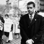 Julian Bond at a civil rights march in the 1960's