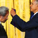 Receiving Congressional Medal from President Obama