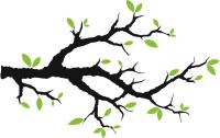 Tree Branch With Leaves Vinyl Wall Decals - Trees ...