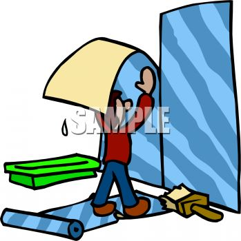 Cartoon of a Wallpaper Hanger - Royalty Free Clip Art Illustration