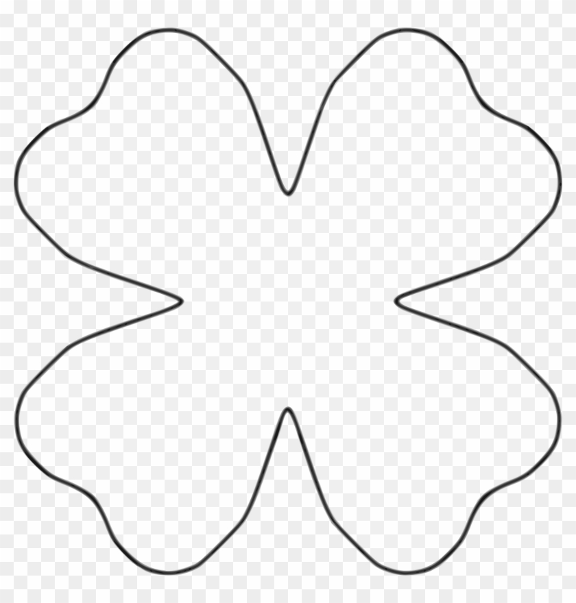 Flower 4 Petal Heart Template By Baj - Line Art - Free Transparent